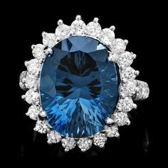 14k White Gold 11.50ct Topaz 1.65ct Diamond Ring : Lot 62C