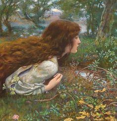"midnight-summerx: ""'The Princess' (details) - Edward Robert Hughes "" Renaissance Kunst, Renaissance Paintings, Rennaissance Art, Foto Fantasy, Fairytale Art, Old Paintings, Victorian Art, Classical Art, Old Art"