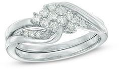 1/3 CT. T.W. Diamond Composite Bridal Set in 10K White Gold #bride #wedding #jewelry #bridaljewelryideas