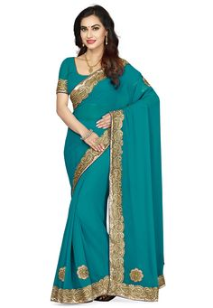 Faux Georgette Saree in Teal Blue This drape is designed with Zari, Applique and Patch Border Work Available with an Unstitched Faux Georgette Blouse in Teal Blue Free Services: Fall and Edging ( Pico) Do note: Accessories shown in the image are just for presentation purpose only. (Slight variation in actual color vs. image is possible)
