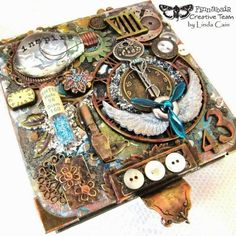 Mixed Media Altered Note Box - Top View ~ Click on photo for step by step tutorial and product list with links.