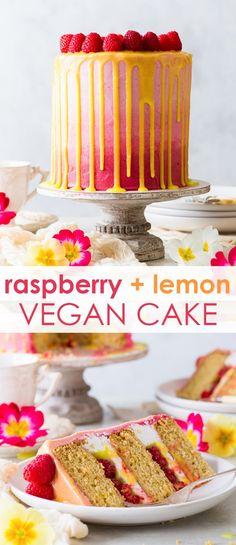 Vegan Raspberry & Lemon Cake [SPONSORED] - This vegan raspberry & lemon cake is as pretty as it is delicious. With fluffy, moist vegan sponges generously scented with lemon zest, a luscious vegan frosting, a refreshing vegan lemon curd and an abundance of Vegan Frosting, Buttercream Recipe, Frosting Recipes, Cake Recipes, Vegan Buttercream Frosting, Raspberry Lemon Cakes, Lemon Layer Cakes, Raspberry Recipes Vegan, Vegan Lemon Desserts