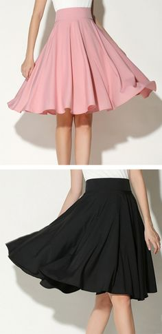 Fashion Summer Women s Solid Color Knee Length 360 Degree Big Swing Party  OL Skirt Női Divat 63b66f59b6
