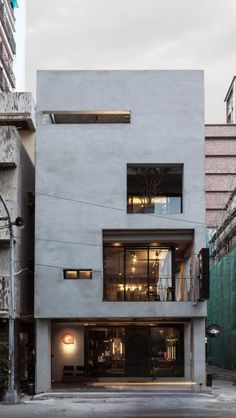 q-pot hair salon residence - kaohsiung - hao - 2015 - photo hey! cheese q-pot hair salon residence - kaohsiung - hao - 2015 - photo hey! Architecture Design, Facade Design, Residential Architecture, Contemporary Architecture, Exterior Design, Architecture Definition, Japanese Architecture, Amazing Architecture, Building Facade