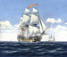 """San Juan Nepomuceno""""     Construido en los astilleros de Guarnizo bajo las especificaciones de Gautier, el  """"San Juan Nepomuceno"""" fue y es uno de los navíos de línea españoles más conocidos debido a su épica resistencia durante el combate de Trafalgar. Su heroica última acción contra seis navíos enemigos fue comandada por el brigadier Don Cosme Damián Churruca que murió en su barco tras sufrir la amputación de una pierna por una bala de cañón."""