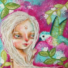 The Princess and the Hummingbird - Original painting by Micki Wilde