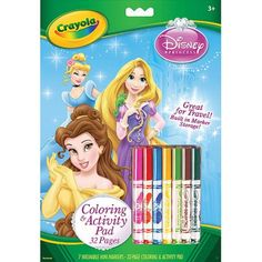 Crayola Disney Princess Coloring and Activity Book with Markers - - Product Description: Kids color and learn with their favorite Disney Princesses! Includes 32 pages of coloring and Disney Princess Colors, Princess Theme, Princess Toys, Barbie Coloring Pages, Coloring Books, Elsa Frozen, Crayola Pens, Marker Storage, Princess Coloring