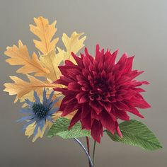 Crepe Paper Fall Bouquet: Dahlia Blue Thistle and by NectarHollow