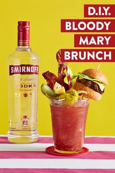 Make your brunch the best in town by hosting a DIY Smirnoff Bloody Mary Bar.  Recipe: 1.5 oz Smirnoff No. 21 Vodka, 3.5 oz tomato juice, 0.5 oz lemon juice, 0.5 tsp grated horseradish. dash of Worcestershire sauce. hot sauce, pinch of pepper, salt, paprika. Garnish with just about anything!