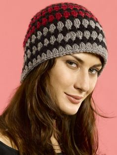 Free Pattern - Rows of simple clusters in alternating shades create a cool  cap perfect for. Easy Crochet Hat PatternsCrochet Adult ... 8c3f7f139dd