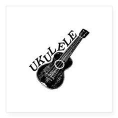 Ukulele Text And Image Sticker on CafePress.com