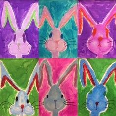 How adorable are these little guys?!? I experimented with a new bunny portrait lesson this year. These bunnies were created by my little Grade 1 and 2 artists. Created by 6 year old artist! I love ch