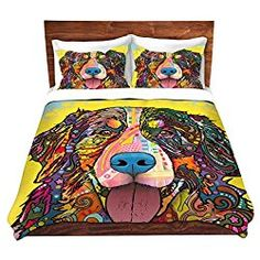 Bernese Mountain Dog Duvet Cover Brushed Twill Twin, Queen, King SETs DiaNoche Designs by Dean Russo Unique Home Decor Bedding ideas