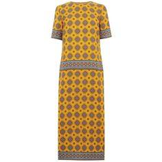 Warehouse Tile Print Column Midi Dress, Mustard featuring polyvore women's fashion clothing dresses sleeved dresses short-sleeve dresses sleeved maxi dress long-sleeve midi dresses short sleeve maxi dress