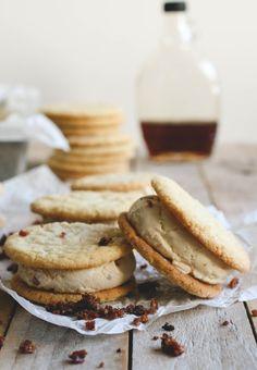 Maple, Bacon & Buttermilk Ice Cream Sandwiches ~ maple ice cream with candied bacon bits sandwiched between buttermilk sugar cookies