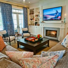 Casual Coastal Living Room Design Ideas, Pictures, Remodel, and Decor - page 7.  Not too fussy - looks cozy.
