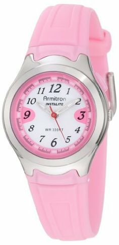Armitron Women's 25/6415PNK All Sport Luminous Dial Pink Resin Strap Analog Watch Armitron. $22.49. Pink resin strap with stainless-steel buckle closure. Pink push-button at 2 o' clock position for illuminated dial function. Water-resistant to 100 M (330 feet). White background dial with black printed Arabic numerals at all hours; luminous filled hour and minute hands. 28 mm round pink resin case with metalized silver-tone top ring. Save 25% Off!