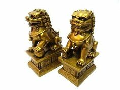 Large Pair of Copper Toned Guardian Lions Chinese Foo Dog Statues | eBay