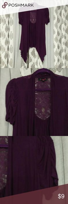 Purple wrap with lace detail sz L Dress up any out fit in the fly, this is very flattering and easy to wear. Sweaters Shrugs & Ponchos