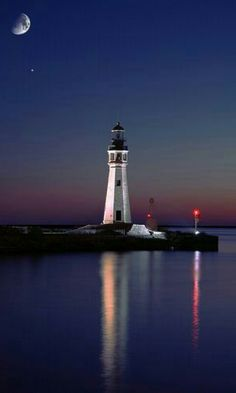 Buffalo Main Light lighthouse at the mouth of Buffalo River Buffalo New York