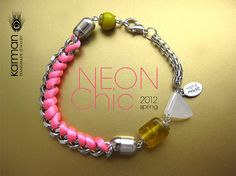 Bright pink neon bracelet. Pink silk knot bracelet on silver chain. Neon pink bracelet for Spring and Summer 2012 by Karman Jewelry.