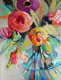 Abstract art flower painting lesson on www.art-is-fun.co... with step by step instructions for creating your own colorful, detailed floral abstracts in acrylics!