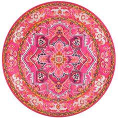 nuLOOM Traditional Flower Medallion Violet Pink Round Rug (5'3 Round)
