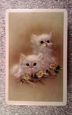 White Kittens  ARRCO Playing cards  New Cello in box U.S.A.