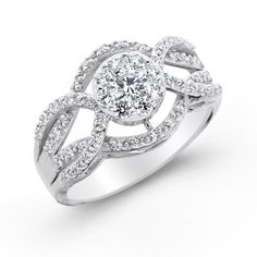 {One-of-a-kind} Endless Diamond Twisting Shank Engagement Ring
