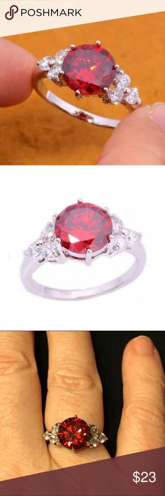 Red Garnet Gemstone & Silver Filled Ring, Size 6 Red Garnet gemstone and silver filled ring.  Size 6. Gemstone is 10mm. Please see photo #6 for information on silver filled vs. silver plated. Huajewelry Jewelry Rings