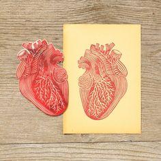 HEART | Pablo Salvaje Eraser Stamp, Stamp Carving, Handmade Stamps, Linocut Prints, Stencil Painting, Tampons, Screen Printing, Anatomical Heart, Anatomy Art