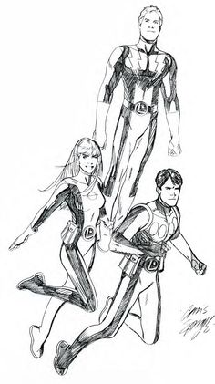 Saturn Girl, Lightning Lad and Cosmic Boy by Chris Sprouse #LoSH