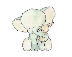 Nursery Art  Elephant Hug   Archival Print by trafalgarssquare, $10.00