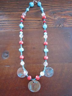 Neck piece with coins and beads.  www.facebook.com/things007