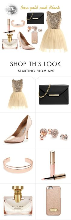 """""""Gold and black look"""" by summerdee123 ❤ liked on Polyvore featuring MICHAEL Michael Kors, Charles David, GUESS, Leith, By Terry and Bulgari"""