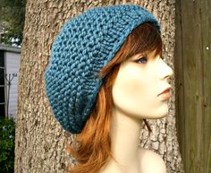 Blue Womens Hat  Tribeca Beret Teal Blue Knit Hat  by pixiebell