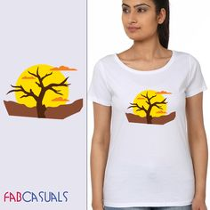 Women Round Neck Printed Short Sleeves T-shirt. BUY IT HERE: www.fabcasuals.com #onlineshopping #India #shopnow #tshirts #women