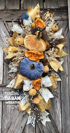 Front Door Wreath Velvet Pumpkin Wreath Pumpkin Grapevine God is good Wreath Harvest Grapevine Autumn Wreath