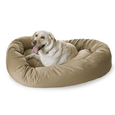 Burgundy Bagel Dog Bed By Majestic Pet Products Khaki 52-Inch