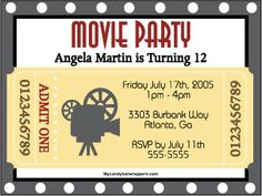 Free Printable Movie Themed Invitations   Our Movie invitation is perfect for your movie themed party. Invite ...