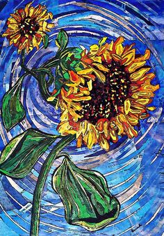 Wild Sunflowers Mixed Media by Sarah Loft - Wild Sunflowers Fine Art Prints and Posters for Sale