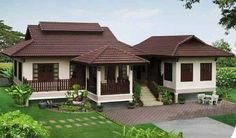 This house is very beautiful design is very nice. It is a single storey concrete house. The roof of the chimpanzee Sealed with CP Peppermill tile. Tropical House Design, Kerala House Design, Modern House Design, Kerala Traditional House, Traditional House Plans, Thai House, Village House Design, Village Houses, Dream House Plans