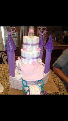 Baby girl Princess Castle Diaper Cake