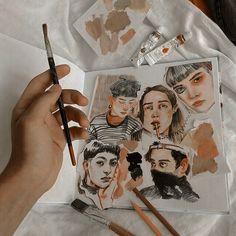 Art Sketches, Art Drawings, Illustrations, Illustration Art, Arte Sketchbook, Painting & Drawing, Watercolor Paintings, Guache, Art Hoe