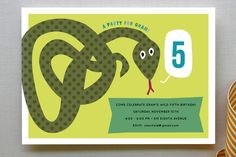 Snake Children's Birthday Party Invitations by Sara Hicks Malone at minted.com