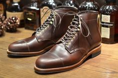 Alden x LS Vanguard Boot. Brown Chromexcel upper, brass eyelets and speed hooks, and double waterlocked-leather sole.