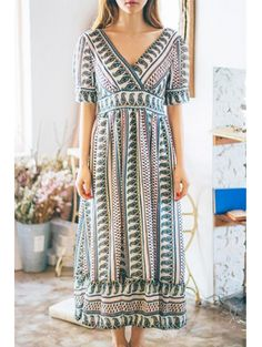 SHARE & Get it FREE   Ethnic Print V-Neck Short Sleeve Maxi DressFor Fashion Lovers only:80,000+ Items • New Arrivals Daily Join Zaful: Get YOUR $50 NOW!
