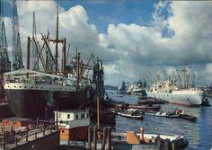 Kleurenfoto van de Amsterdamse haven in de jaren 50. Barts Parels | Het Scheepvaartmuseum
