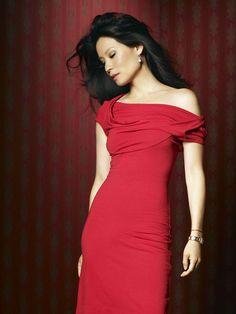 Lucy Liu in a little red dress