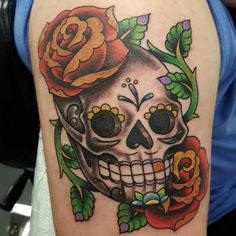 Sugar Skull Tattoos With Roses